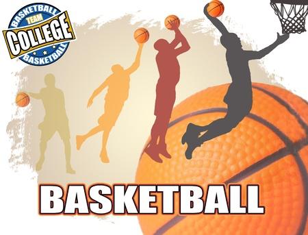 fitness ball: Basketball poster background, vector illustration