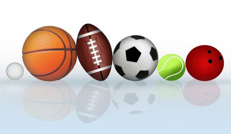 Group of sports balls with reflection, vector illustration Vector