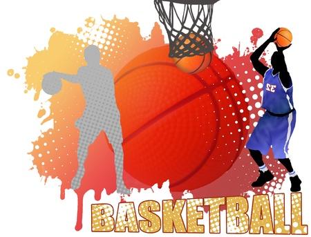 winning team: Basketball poster background, vector illustration