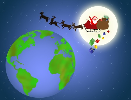 Background with santa flying over earth, vector illustration Vector