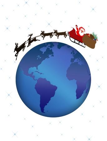 Santa and reindeer flying over earth globe, vector illustration Vector