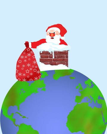 stepping: Santa Claus stepping into a earth chimney with his sack, vector illustration