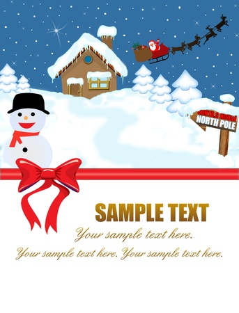 Santas house at North Pole and his sleigh with space for your text,vector illustration Vector