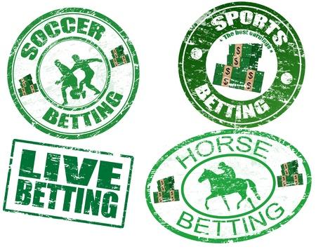 Grunge sellos de goma con el caballo, el texto de fútbol, ??en vivo y apuestas deportivas por escrito dentro de los sellos, ilustración vectorial