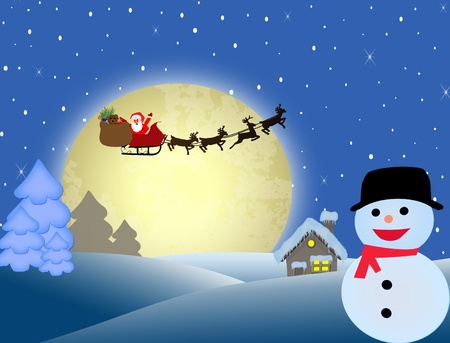 Santa Claus on his sleigh flying over night winter, vector illustration backgound Vector