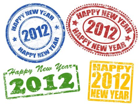 Set of 2012 new year grunge stamps, vector illustration Stock Vector - 11235254