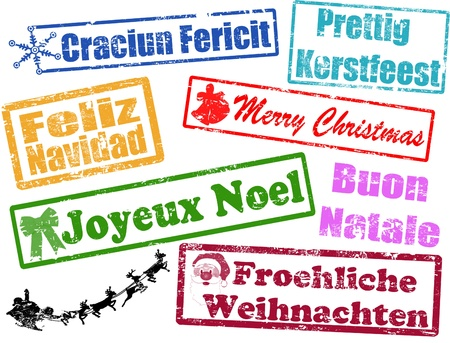 natale: Merry Christmas stamps in different languages, vector illustration