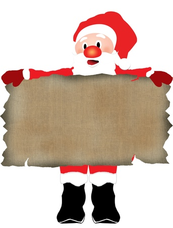 Christmas Santa Claus over blank  texture of old canvas, vector illustration Vector