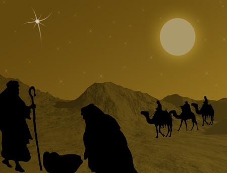stable: Illustration of traditional Christian Christmas Nativity scene, vector illustration Illustration