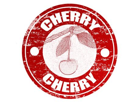 Red grunge rubber stamp with cherry shape and the word cherry written inside the stamp Vector