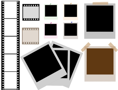 snapshot: vector of isolated instant photo frames and film strip Illustration