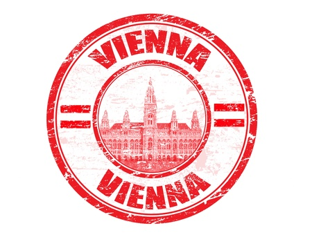 vienna: Grunge rubber stamp with town hall and the word Vienna inside, vector illustration