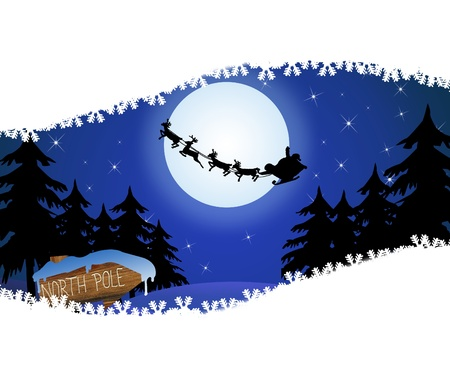 Santas sleigh in front of the moon and wood sign with North Poleand space for your text, vector illustration Illustration