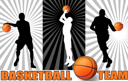 basketball team: Basketball poster with players silhouettes, vector illustration Illustration