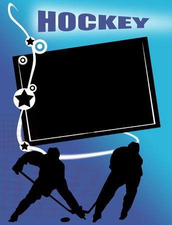 Hockey banner with  players silhouette on blue background, vector illustration Stock Vector - 11324137