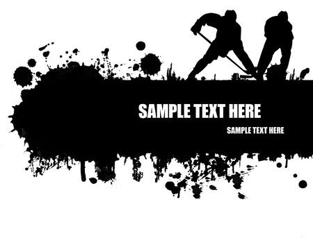 hokej na lodzie: Grunge lodzie plakat z sylwetki zawodników, ilustracji wektorowych