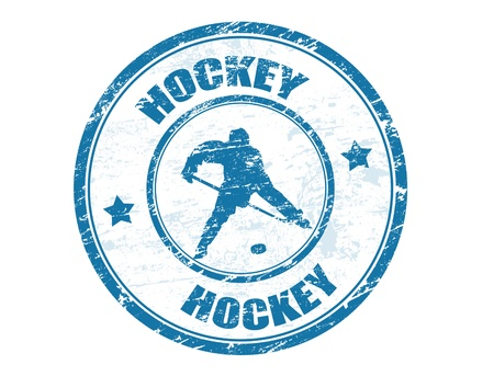 Grunge rubber stamp with shape player and the text hockey written inside, vector illustration Vector