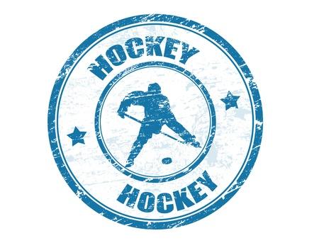 hockey sobre hielo: Grunge sello de goma con el jugador de hockey de la forma y el texto escrito en el interior, ilustración vectorial