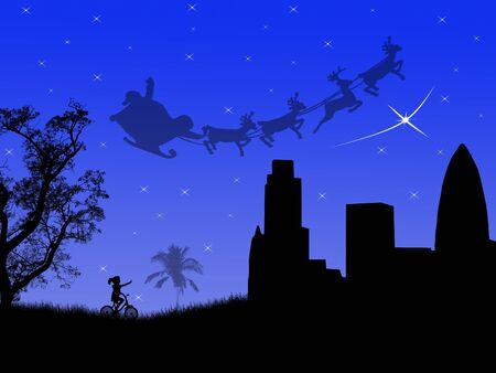 Santa sleighs in the sky over the night city, vector illustration Vector