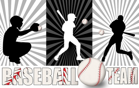 Baseball poster with players silhouettes, vector illustration Vector