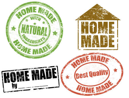 home made: Set of grunge rubber stamps with text home made written inside, vector illustration