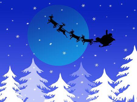 Santa`s sleigh over christmas threes, vector illustration