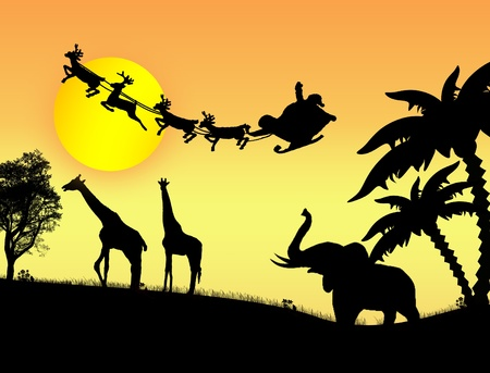 kenya: Santa Claus in Africa - silhouettes of wild animals and flying Santa on sunset, vector background