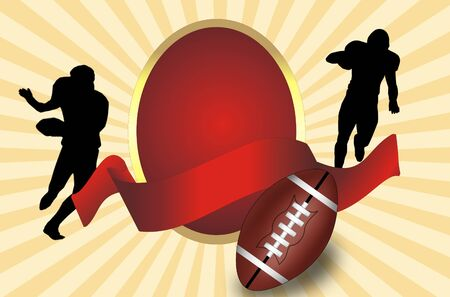 American football  ball  and players  silhouette with red  banner, vector illustration Vector