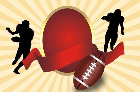 bannière football: Ballon de football américain et les joueurs silhouette avec une illustration vectorielle bannière rouge,