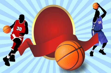 Basketball ball  and players  silhouette with red  banner, vector illustration Vector