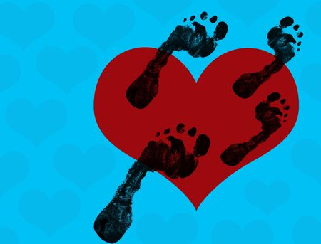 foot print: Abstract background with heart and footprints , vector illustration