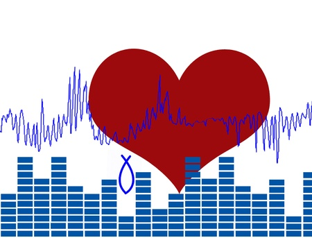 Abstract background concept with heart and heartbeat vector illustration Vector