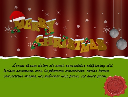 Christmas Card. Merry Christmas lettering illustration Stock Vector - 11536108