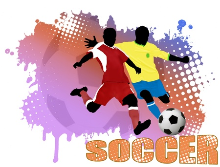 soccer stadium: Action players, on grunge poster background illustration
