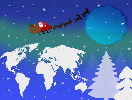 Christmas in Sleigh with Reindeer over Earth Globe illustration Vector