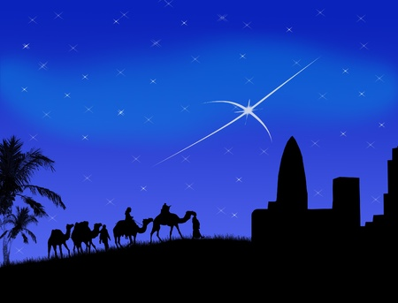 Wise men traveling to Bethlehem, following the star illustration Vector