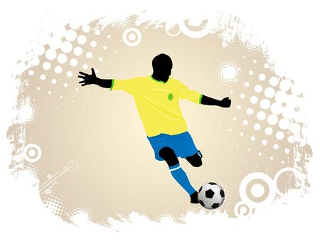 Soccer action player on grunge poster background illustration Stock Vector - 11536122