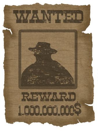 Een oude gezochte poster met een cowboy silhouet