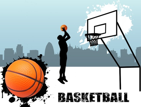 Street basketball player silhouette illustration Stock Vector - 11536105