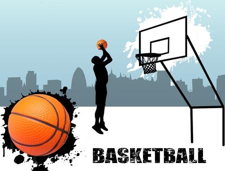 canestro basket: Via giocatore di basket silhouette illustrazione Vettoriali
