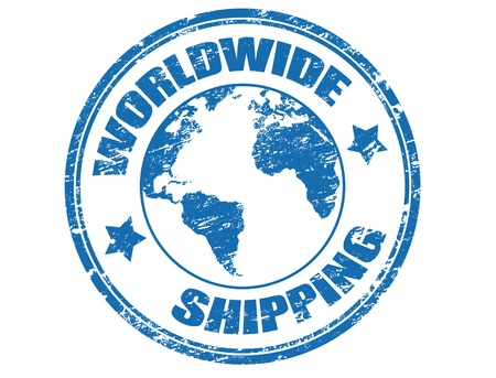 shipments: Grunge rubber stamp with a earth globe map and the text worldwide shipping written inside the stamp