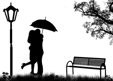 innamorati che si baciano: Gli amanti abbracciati in un parco, su illustrazione in bianco e nero