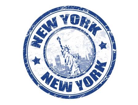 viaje de negocios: Grunge sello de goma con la Estatua de la Libertad y la palabra de Nueva York dentro de la ilustraci�n