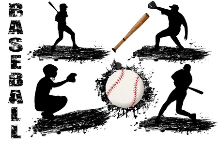 baseball game: Baseball player silhouettes on white background illustration Illustration