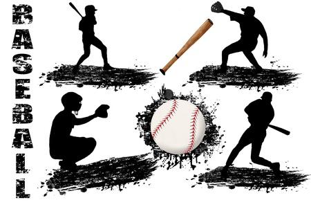 beisbol: Siluetas del jugador de béisbol en la ilustración de fondo blanco Vectores