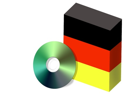 German software box with national flag colors and CD illustration Vector