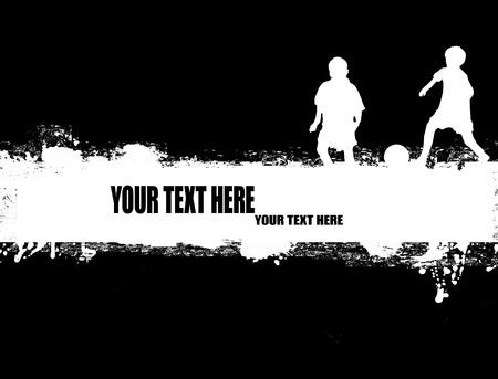 Grunge-Fußball-Plakat auf Schwarz-Weiß-Darstellung