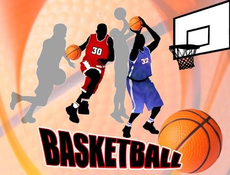 결정된: 아름 다운 추상적 인 배경에 농구 액션 플레이어. 클래식 농구 포스터 그림 일러스트
