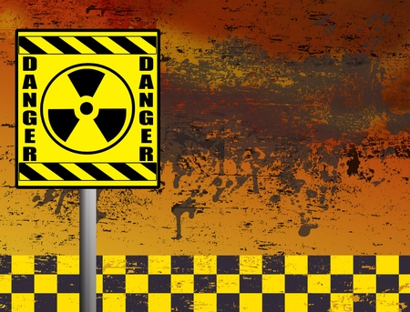 Nuclear danger warning in front of grunge background illustration Vector