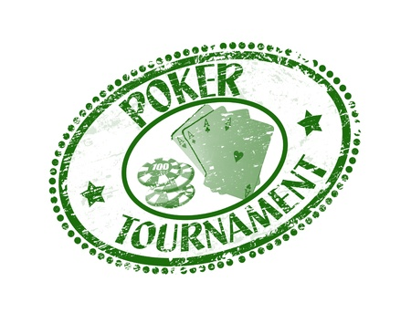 Green grunge rubber stamp with poker cards, chips and the text poker tournament written inside the stamp Vector
